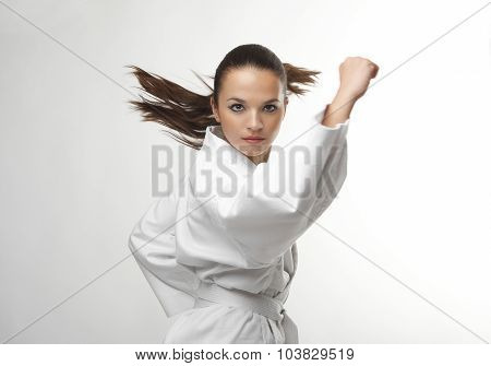 Attractive Young Sexy Women In A Karate Pose