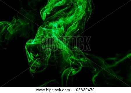 Abstract Green Smoke From The Aromatic Sticks.