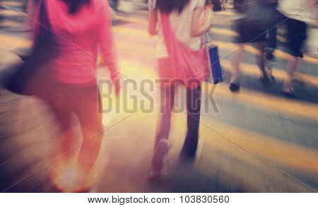 People in Hong Kong Cross Walking Concept
