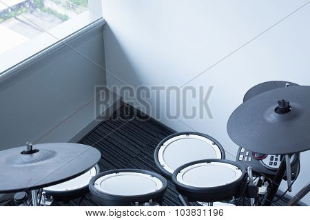 Electronic Drum Set In The Room Corner As Musical Background Technology Theme