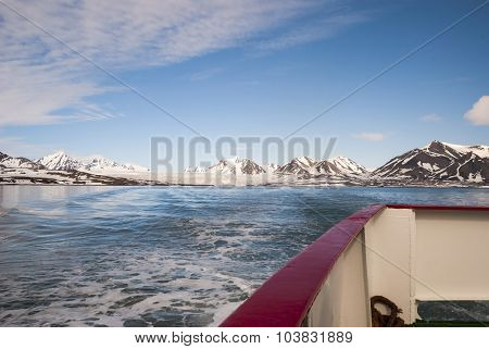 Ship Moving Away From The Glacier In Arctic, Svalbard