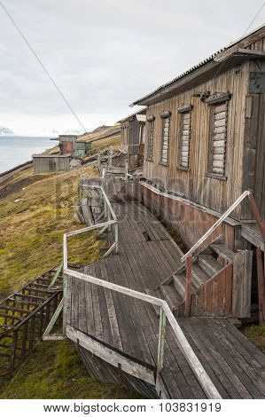 Abandoned House In Barentsburg, Russian Settlement In Svalbard