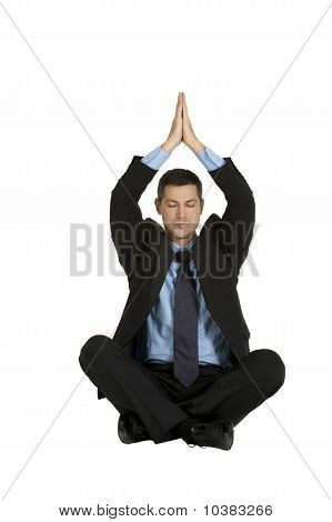 businessman practice yoga isolated on white background