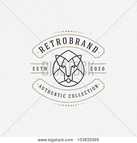Vintage lion face Line art logotype emblem symbol. Can be used for labels, badges, stickers, logos vector illustration.
