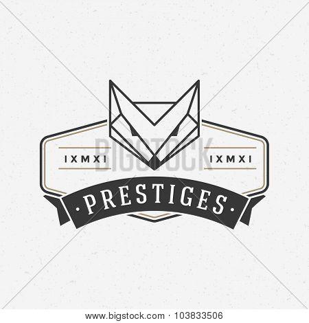 Vintage Fox face Line art logotype emblem symbol. Can be used for labels, badges, stickers, logos vector illustration.