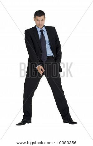 businessman means down isolated on white background