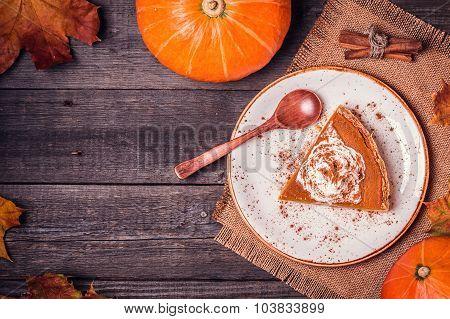 Homemade Pumpkin Pie For Thanksgiving.