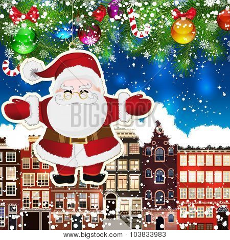 Santa Claus on the background of snow-covered streets. Green branches of Christmas trees decorated with Christmas balls and sweets. Christmas background.