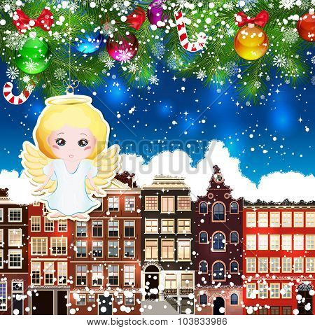 Christmas angel on the background of snow-covered streets. Green branches of Christmas trees decorated with Christmas balls and sweets. Christmas background.