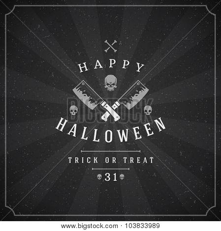 Vintage Happy Halloween Typographic Design Vector Chalkboard Background and Skull