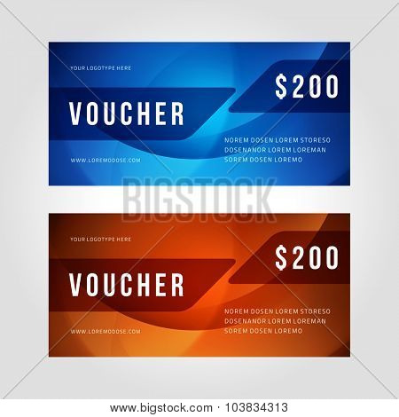 Voucher template abstract waves design vector illustration