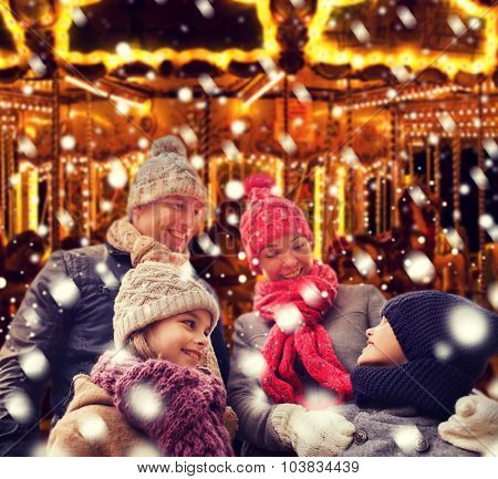 family, childhood, season and people concept - happy family outdoors