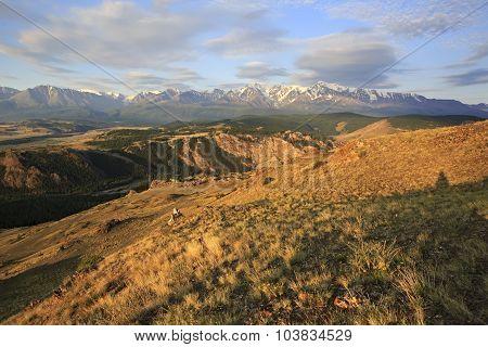 Kurai steppe and North Chuya ridge at dawn.