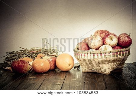 Apple And Bamboo Basket On Wooden Table, Still Life Style