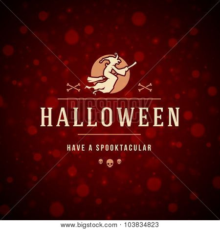 Vintage Happy Halloween Typographic Design Vector Background and Witch