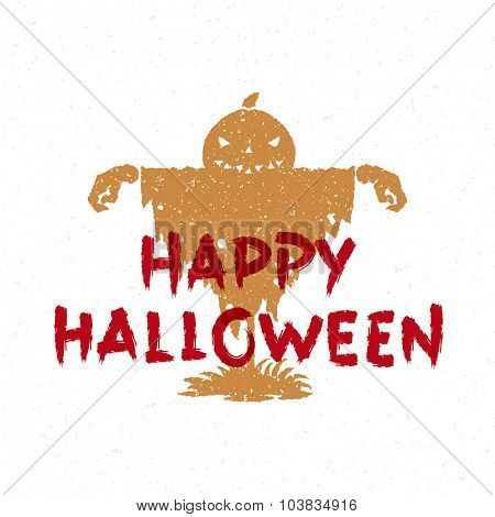 Halloween message and scary pumpkin scarecrow vector illustration