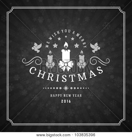 Merry Christmas Greetings Card or Poster Design. Chalkboard vector background and retro chalk typography holidays wishes.