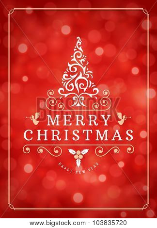Christmas lights and typography label design vector background. Greeting card or invitation and holidays wishes.