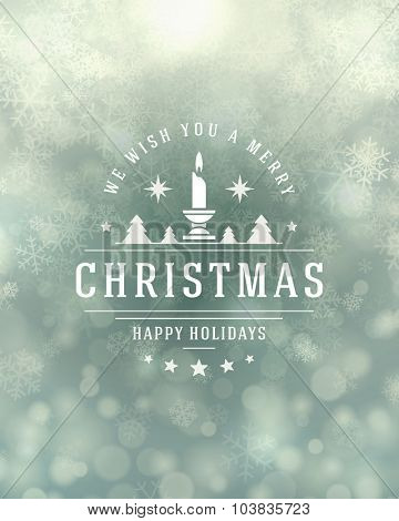 Christmas snowflakes and typography label design vector background. Greeting card or invitation and holidays wishes.
