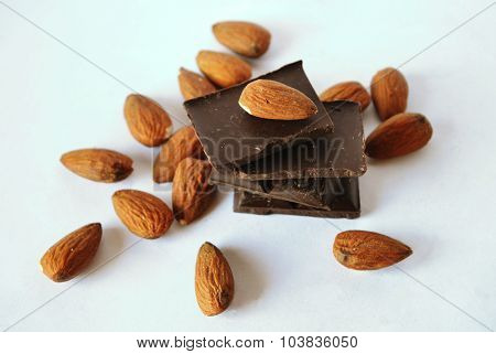 Dark chocolate and almonds in vintage colors