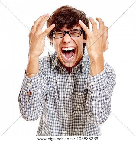 Young hispanic man wearing blue checkered shirt and black glasses standing with hands near his head and loudly screaming isolated on white background - success concept