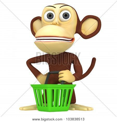 3D Monkey With Shopping Basket