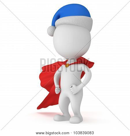 3D Man - Brave Superhero With Santa Claus Hat