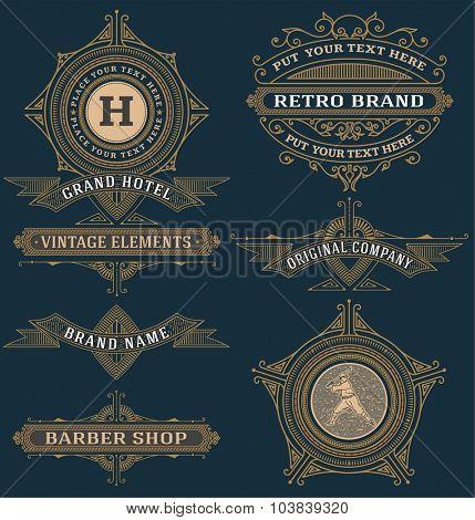 Set of vintage design labels and banners.