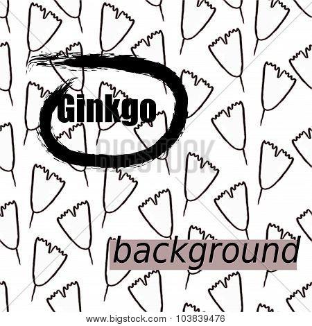 Ginkgo biloba pattern seamless.  Silhouette of ginkgo art leaves