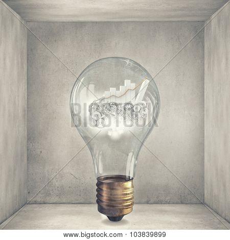 Glass light bulb and business graph inside