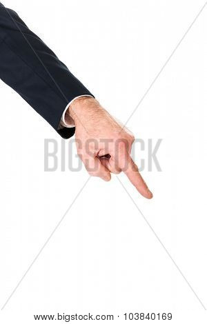 Businessman hand pointing down on something.