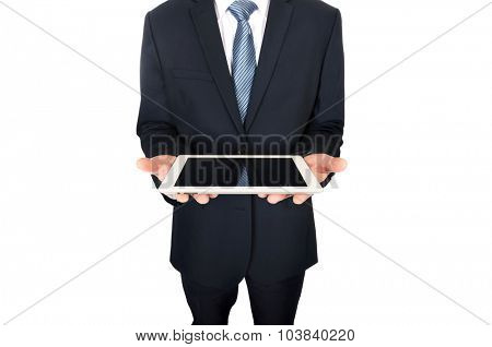 Close up on male hands holding digital tablet.