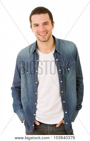 young happy casual man portrait, isolated on white