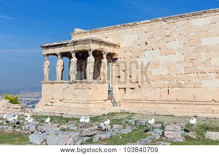 The Caryatid Porch of the Erechtheum , Acropolis, Greece
