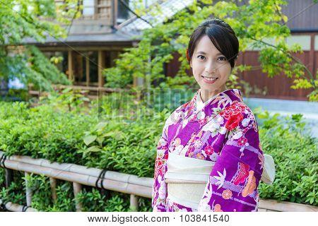 Woman with kimono japanese traditional costume