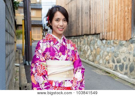 Japanese woman with kimono dressing in Kyoto