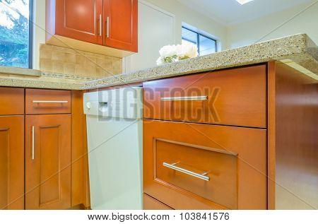 Modern, bright, clean, empty kitchen interior in a luxury house