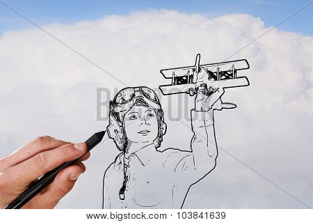 Person hand drawing pilot with old airplane on sky background