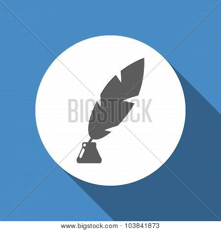 Vector feather and ink bottle icon
