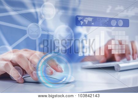 Hands of businessman working with keyboard and mouse