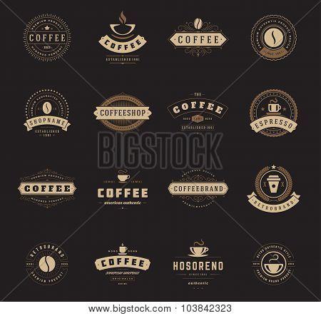 Coffee Shop Logos, Badges and Labels Design Elements set