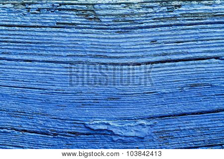Old Blue Painted Obsolete Wooden Board Background