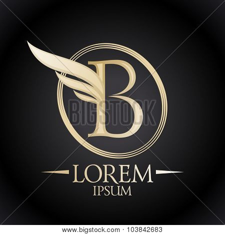 Gold elegant letter B with wing and place for text logo template.