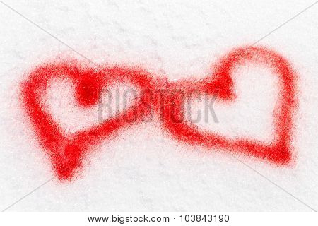 Two Red Hearts, Sprayed In The Snow