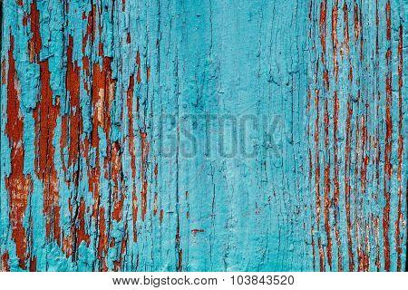 Old Blue Obsolete Wooden Background Texture