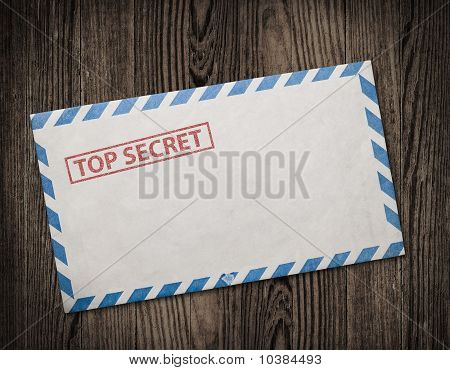 Old Top Secret Envelope On Table.