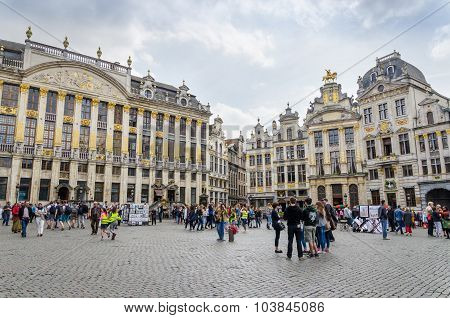 Brussels, Belgium - May 13, 2015: Many Tourists Visiting Famous Grand Place of Brussels