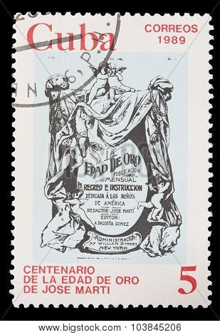 Postage Stamp Printed In Cuba Shows The Cover Of The The Golden Age, The Book Of Jose Martis