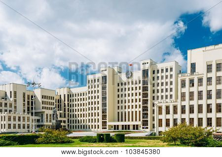 White Government Parliament Building - National Assembly of Belarus on Independence Square in Minsk,