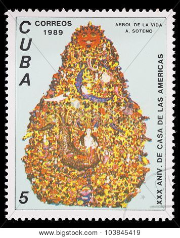 Postage Stamp Printed In Cuba Shows The Tree Of Life For The Anniversary Of House Of America